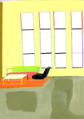 黄色い壁紙の部屋