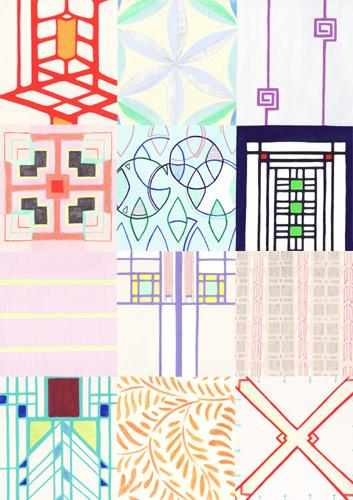 テキスタイル、アートガラス、ブロックなどのデザイン(Frank Lloyd Wright)/2011/A3